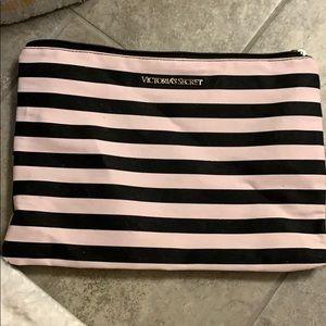 Victoria's Secret striped bag makeup accessories